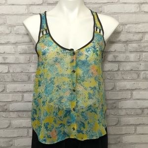 Lush multicolored sheer tank, XS